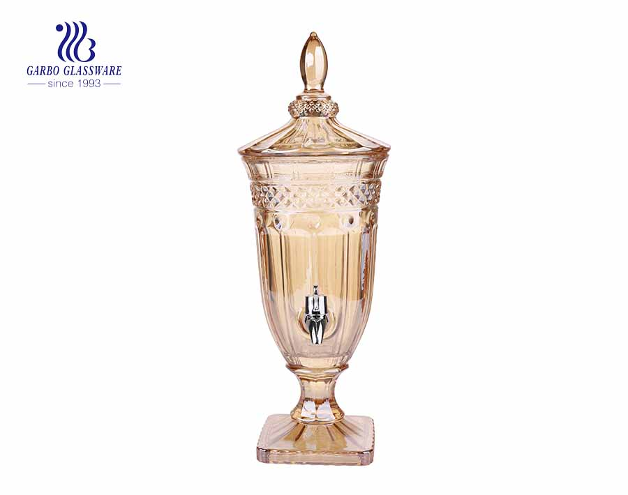 2L high quality juice drinking glass dispenser for home hotel and restaurant using with amber colored