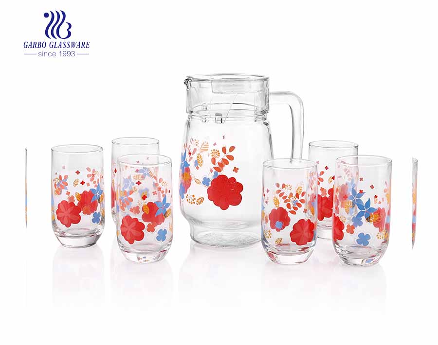 7PCS African style spraying color frosting customized decal water drinking jug set glass pitcher tumbler with factory price