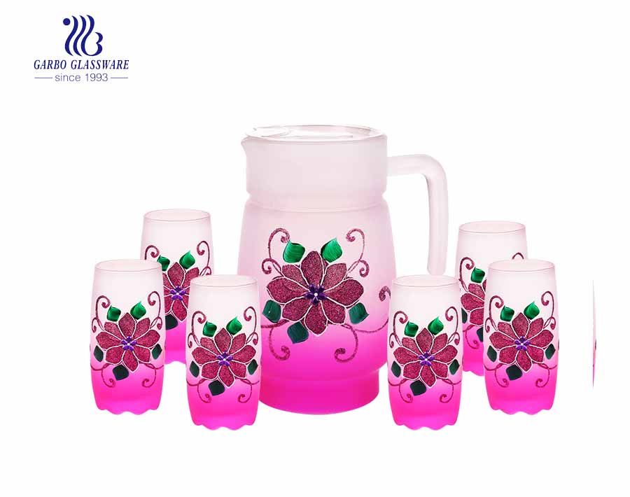 7 piezas de color africano de pulverización de color glaseado calcomanía personalizada jarra de agua potable vaso jarra de vidrio con precio de fábrica