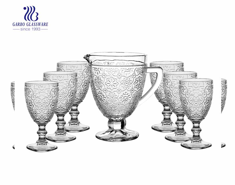 7pcs Old fashion classical beverage water drinking jug set with eangraved pattern 1 jug 6pcs goblets for hotel party