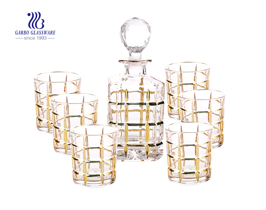 7PCS luxury high white golden rim glass decanter set from China good gift for your freinds