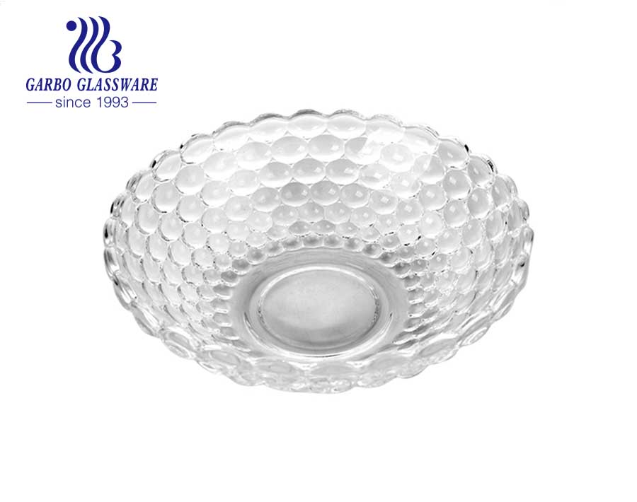 7-inch middle-size delicate diamond-design clear glass plate for salad and fruits
