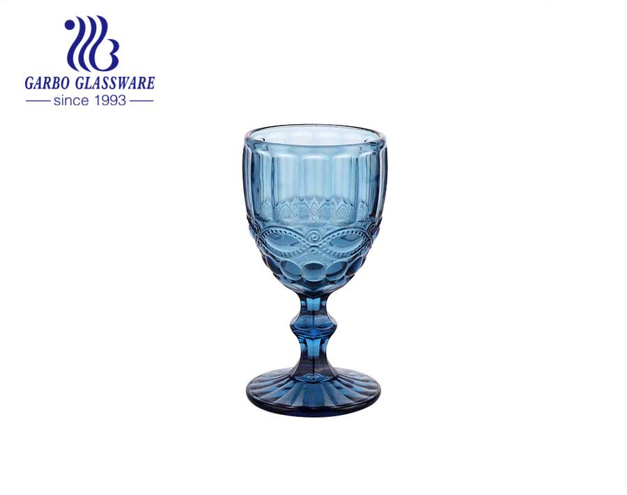 Blue solid color water drinking glass goblet for home using decoration stemware gift for wedding and party