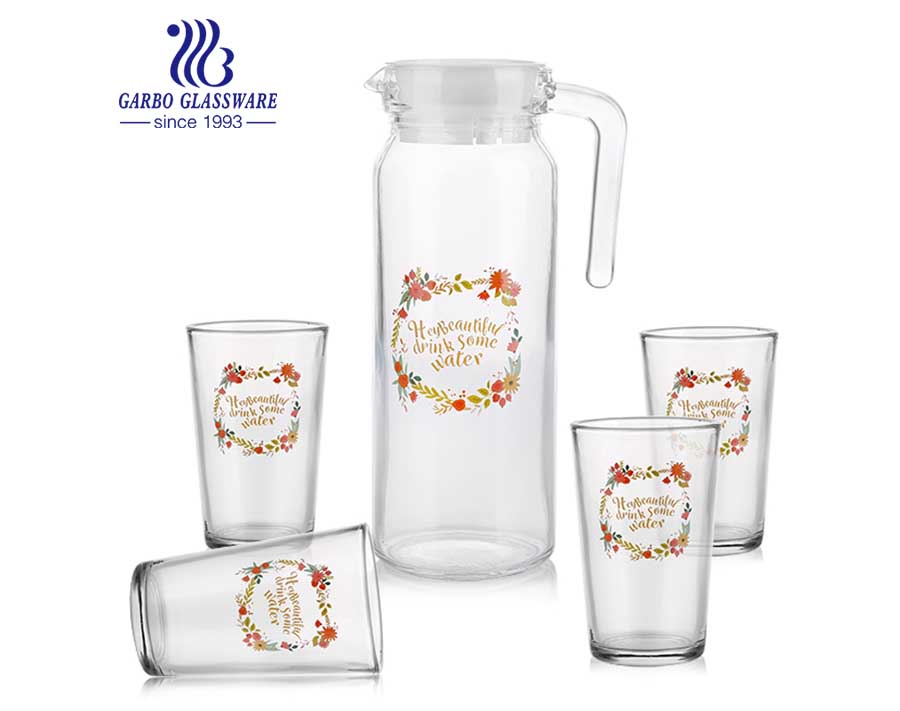 5PCS hot sell european style cheap factory price glassware set promotional food grade drinking water set