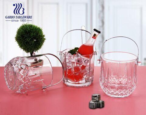 Cubo de champán de vidrio de 850 ml con cubeta de vino Cubo de vino de vidrio con asa