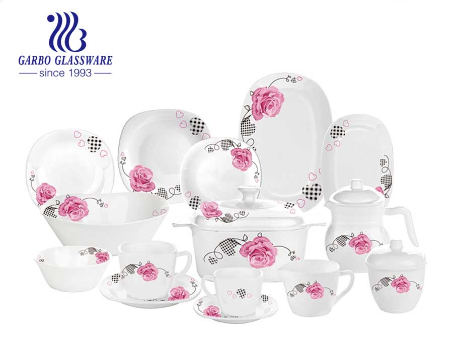 58pcs white opal glass dinnerware set with bowls plates and jugs