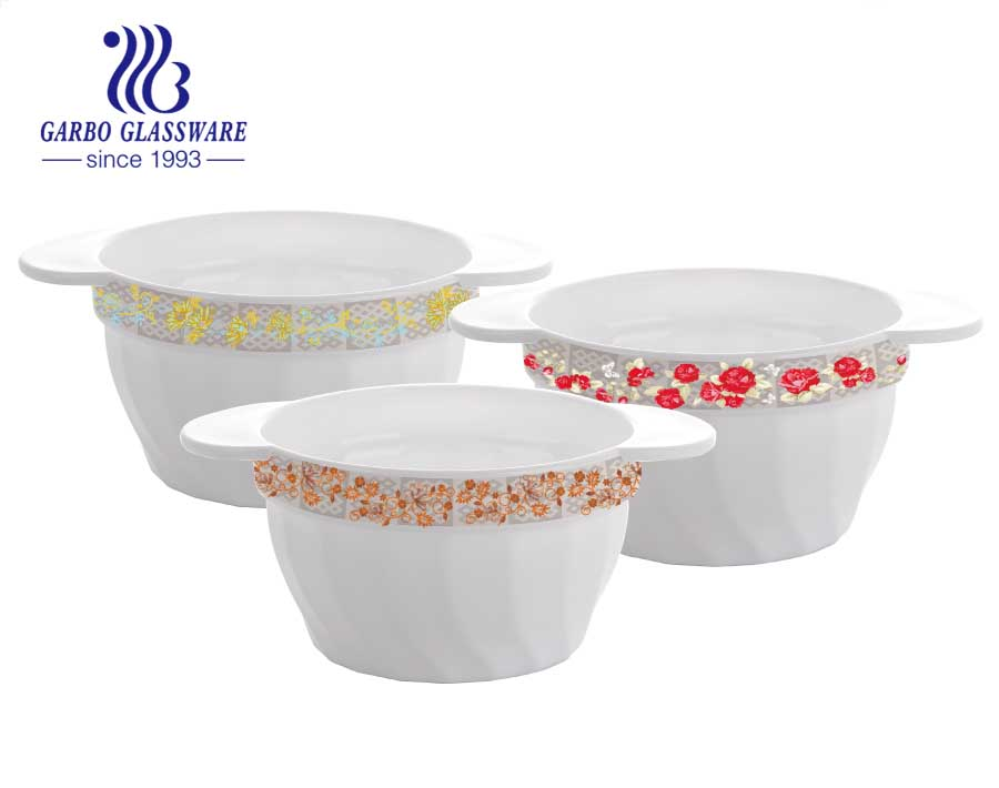 450ml tempered opal glass soup bowls with double ear and flower decal