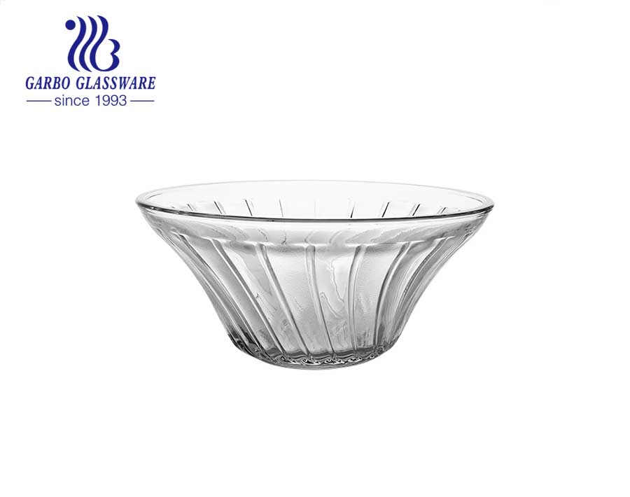 Mid-east Design Hot-selling Glass Fruit Bowl with Engraved Sunflower  Pattern