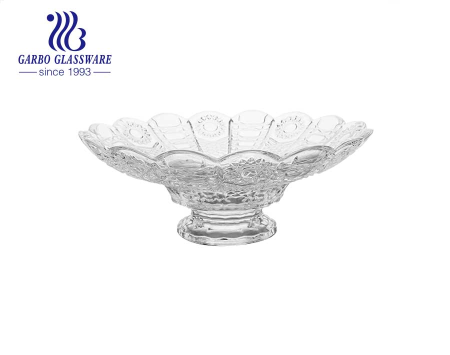 13 inch Glass Fruit Bowl with Large Capacity for Home and Party Using