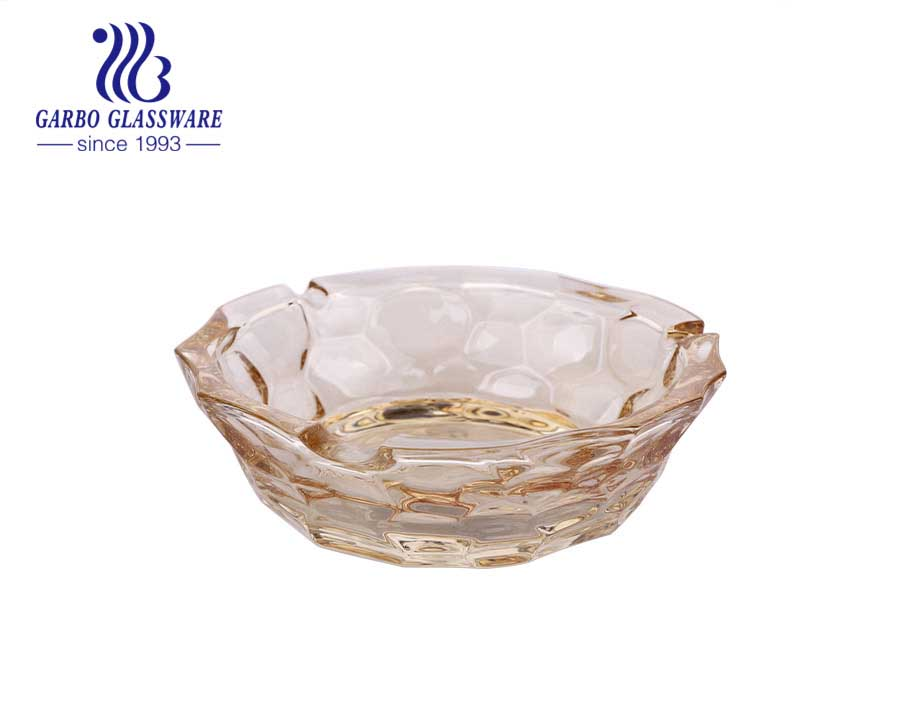 Large Ion-plating Glass Ashtray with Special Rock Design for Home and Bar Using