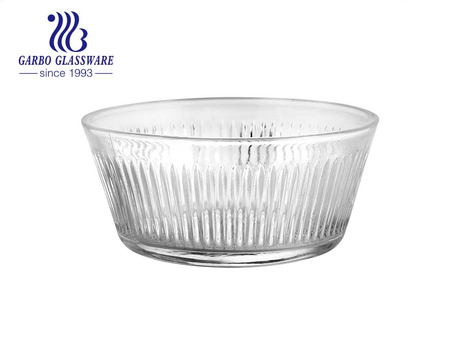 Machine-made high-quality glass dinner soup bowl with handle heat resistant glass bowl with lid