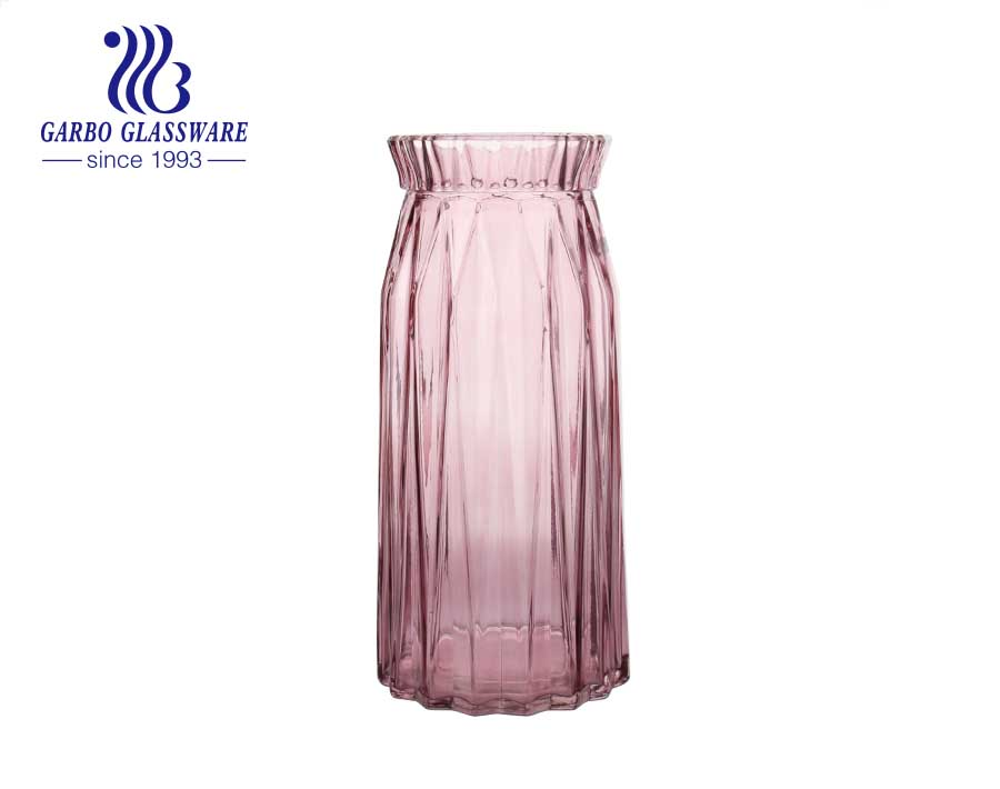Fantastic Ins Florero de vidrio rosa moderno Florero de vidrio transparente hecho a mano para decoración de oficina en casa