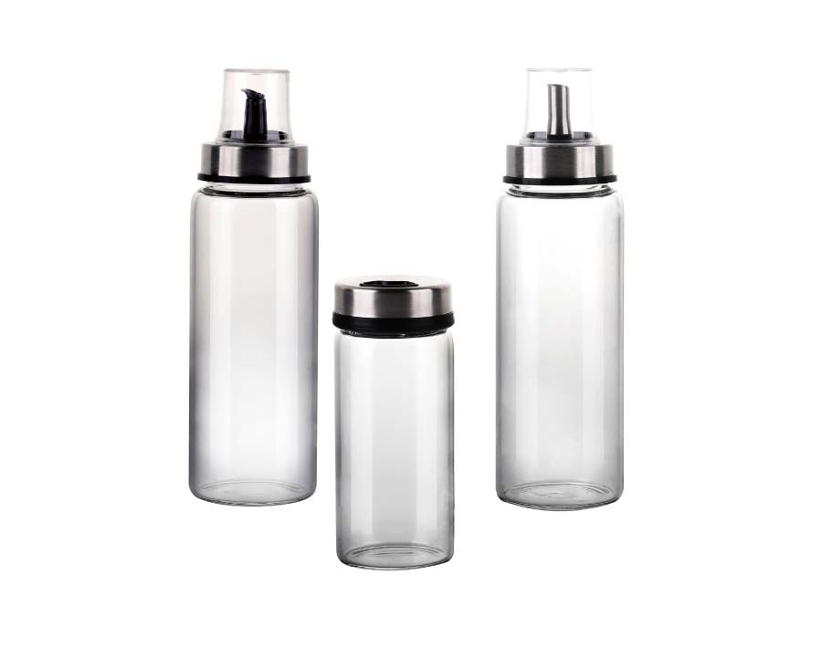 Borosilicate Glass Water Bottles 17.6 Oz, Stainless Steel Lid, Durable, Crack & Heat Resistant, Best As Reusable Drinking Bottle, Sauce Jar, Juice Beverage Container