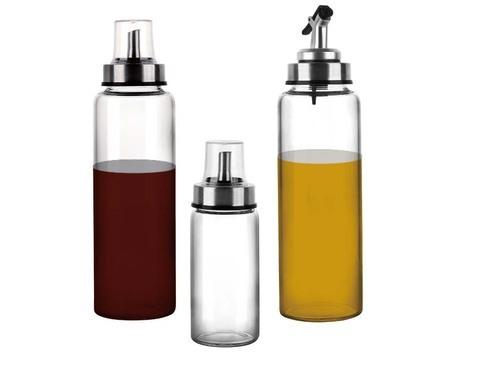 Dispensador de óleo de garrafa de azeite Conjunto de pulverizador de óleo para cozinhar 11.5 OZ Garrafa de vidro sem chumbo para óleo Gotejamento sem bico Garrafa de aço inoxidável para churrasco, salada, cozimento de cozinha, assar, fritar