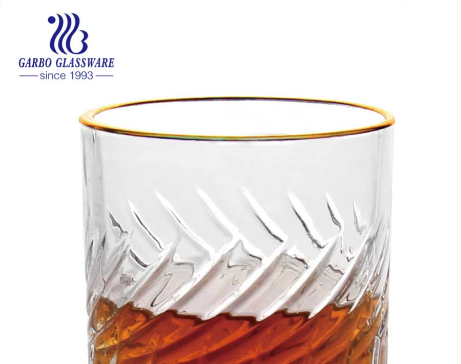 Luxury whiskey glass tea glass cups set with food safe electroplated gold rim