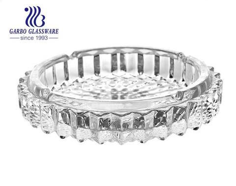 Cinzeiro de vidro transparente de 6.5 polegadas com boca larga e 3 suportes para cigarros