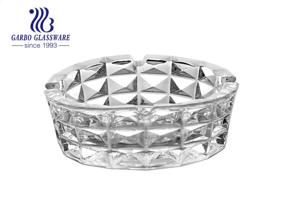 6.5 inch Crystal Clear Glass Ashtray with Wide Mouth and 3 Holders for Cigarettes