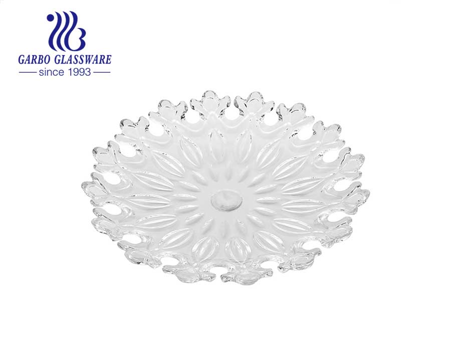 Special Glass Fruit Plate with Leaf Design for Fruit and Home Using