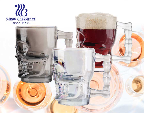 18.5 oz design de crânio caneca de cerveja de vidro chapeamento de íon grande caneca de cerveja copos coloridos com alça