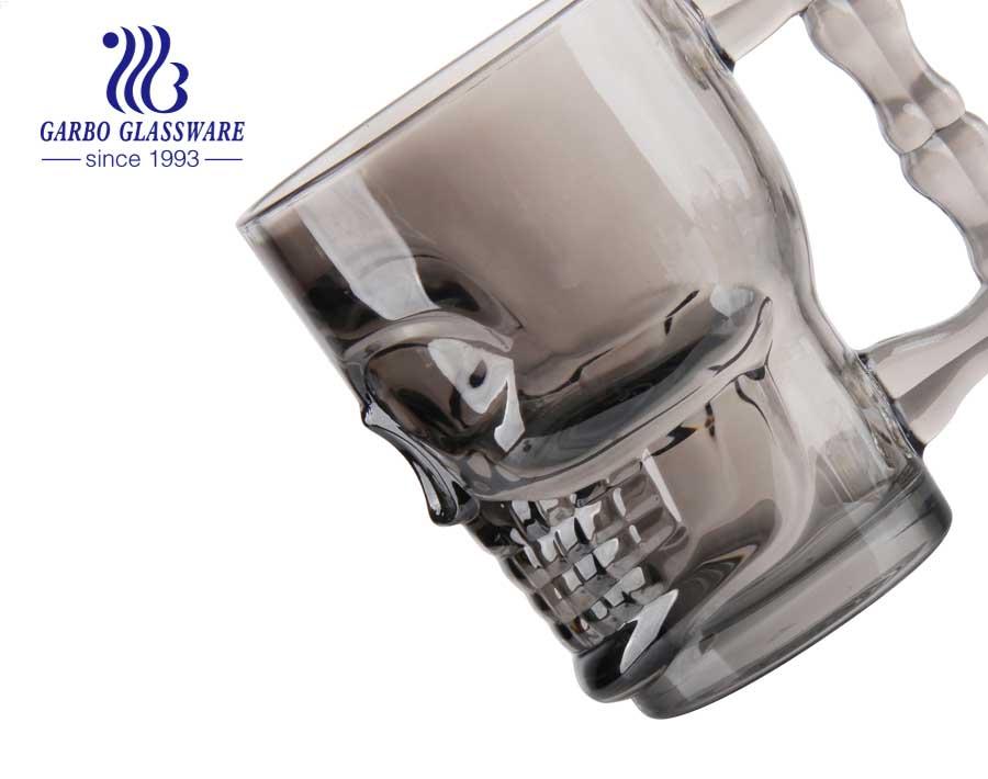 18.5oz skull design glass beer mug ion plating large beer mug colored cups with handle