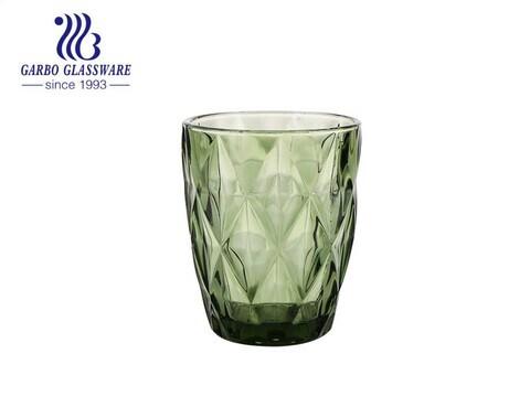 Vaso de vidrio de color sólido verde de 8 oz para beber jugo y agua para restaurantes con alta calidad