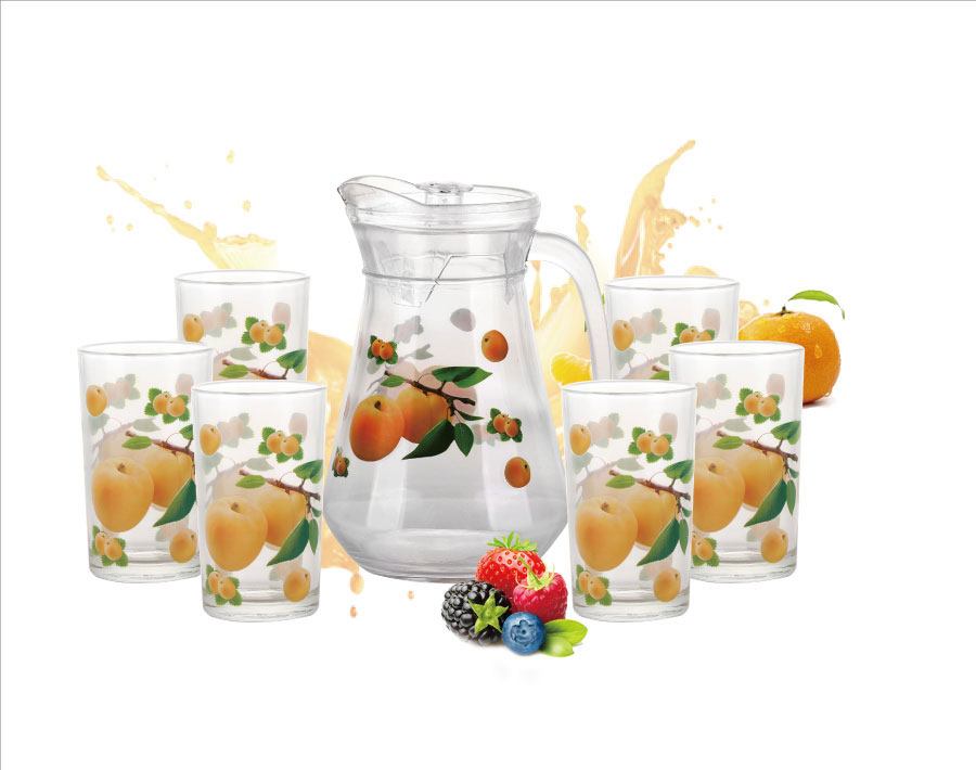 7 PCS Vietnam hot sale wholesale iced tea drinking glass pitcher set transparent customized decal glass pitcher set with handle