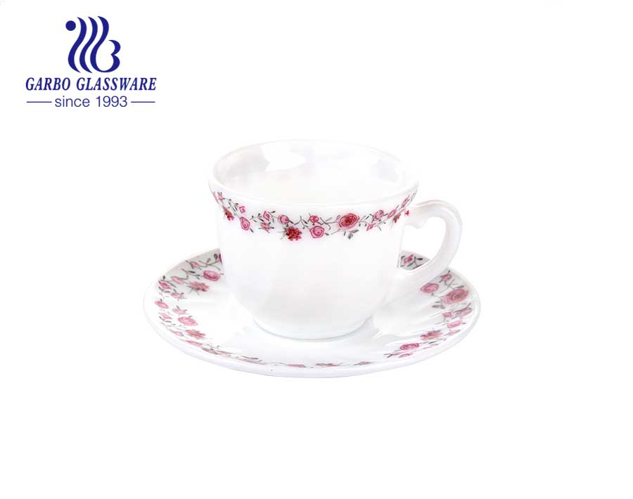 New design fancy flower opal glass coffee set with saucer set