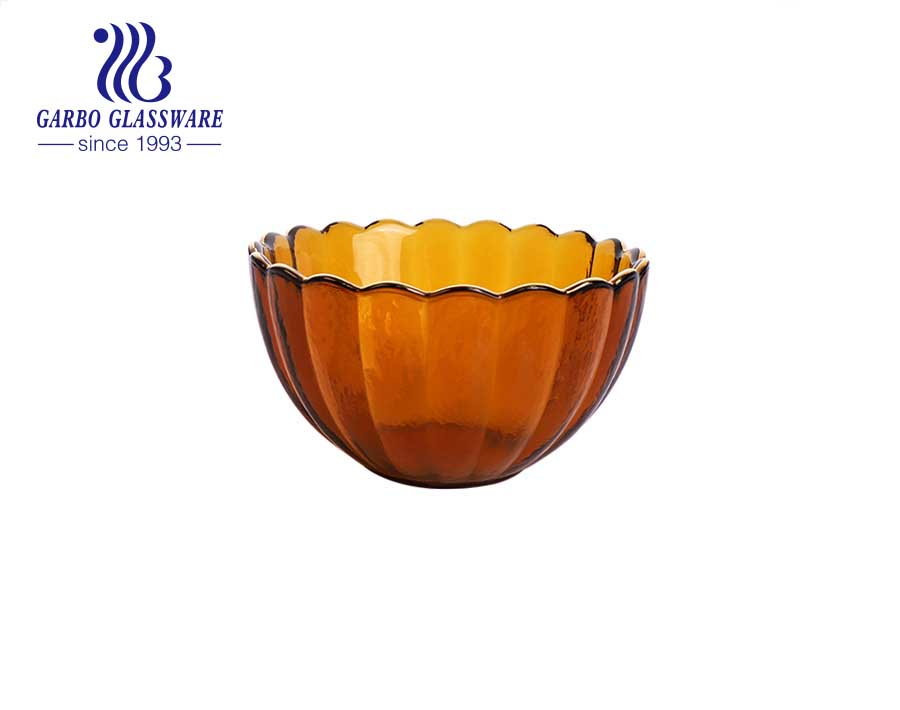 High quality yellow solid color glass ice cream dessert bowl Arabic style lotus shape glass cup