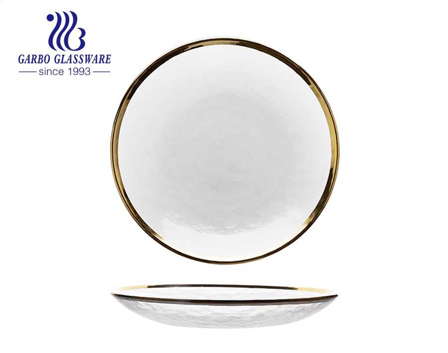 Placa de vidrio negro de color sólido de 5 pulgadas con círculo con cuentas alrededor