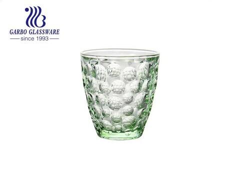 Taza del vidrio de beber del agua del verde del color sólido del diseño del punto 9oz para el consumo del jugo del restaurante