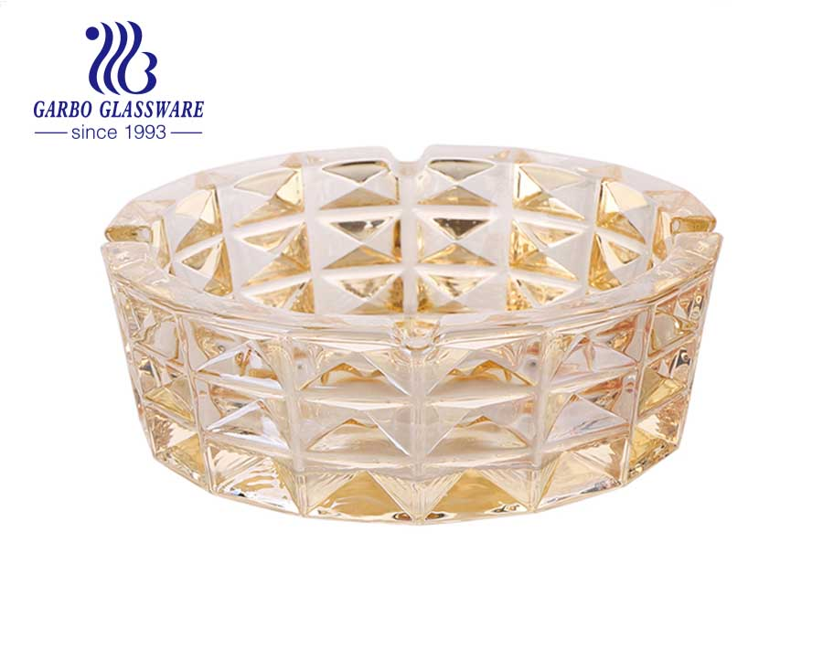 Diamond Design Crystal Clear Engraved Pattern Middle-size Crystal Glass Ashtray for Gift and Decorations
