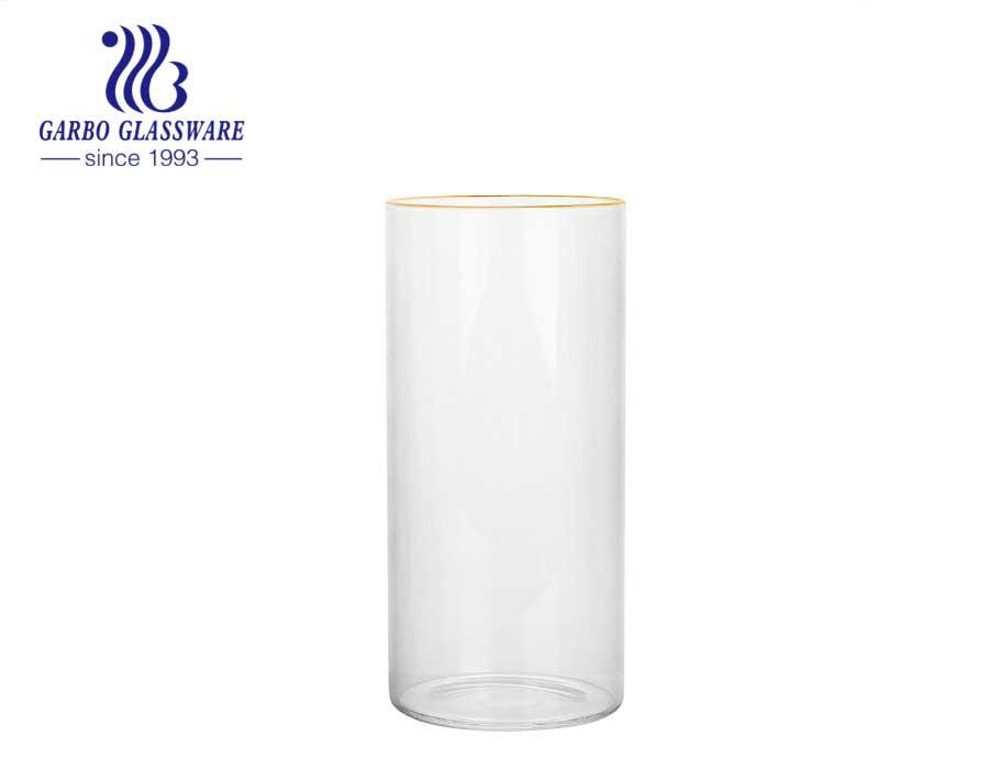 Taza de vidrio de borosilicato transparente de diseño duradero de 12OZ, uso de restaurante, taza de vidrio de borosilicato OEM resistente al calor