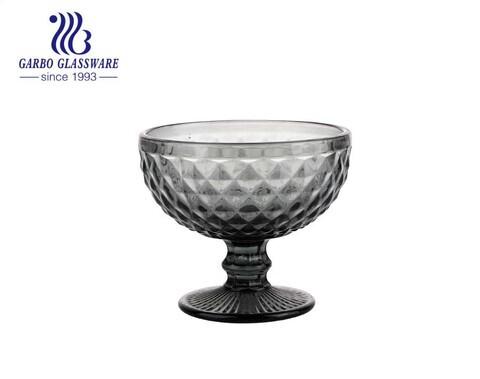 copo de sorvete de vidro cinza tigela de vidro de venda quente sem chumbo