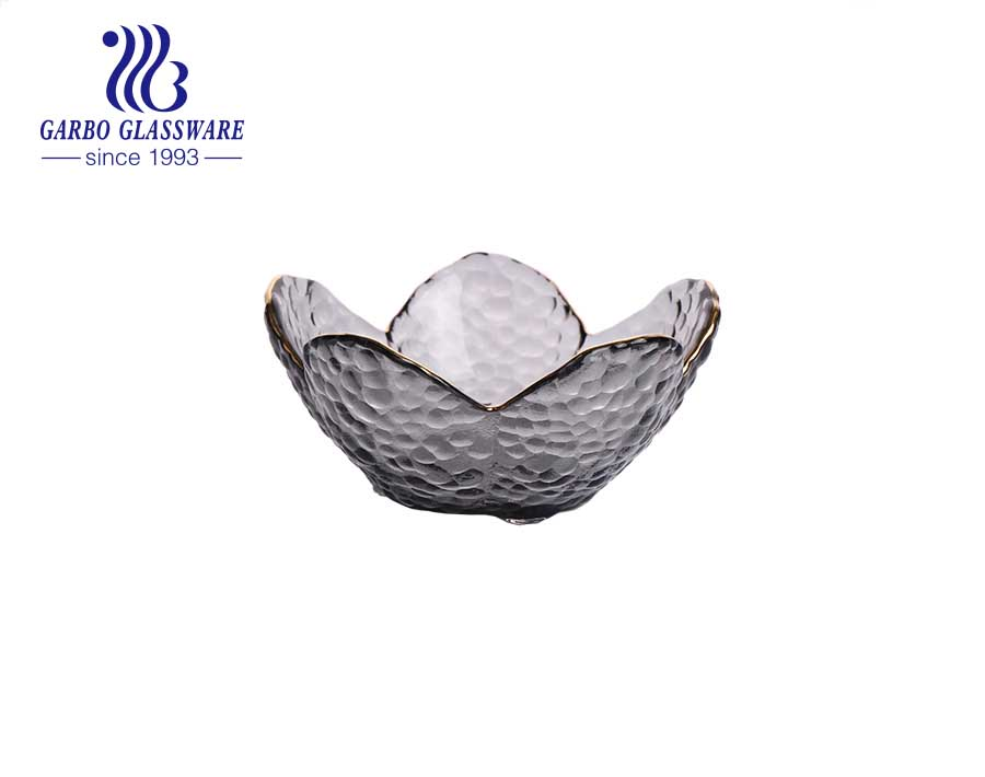 Silver ion plating flower shape glass plate high end petal shape glass plate from China factory