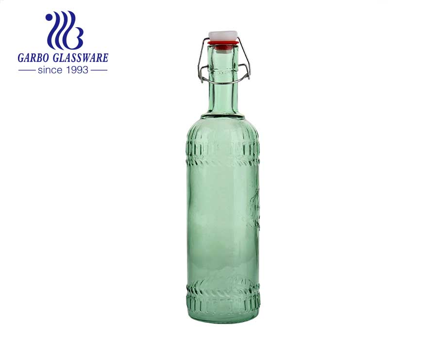 Green 1100ml  Glass Beer Bottle Beverage Storage bottle with wholesale price