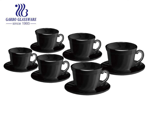 Schwarzer Tee Kaffeeset Tasse Untertassen Teller Teller Opalglas Kochgeschirr Heißes rundes Abendessenset