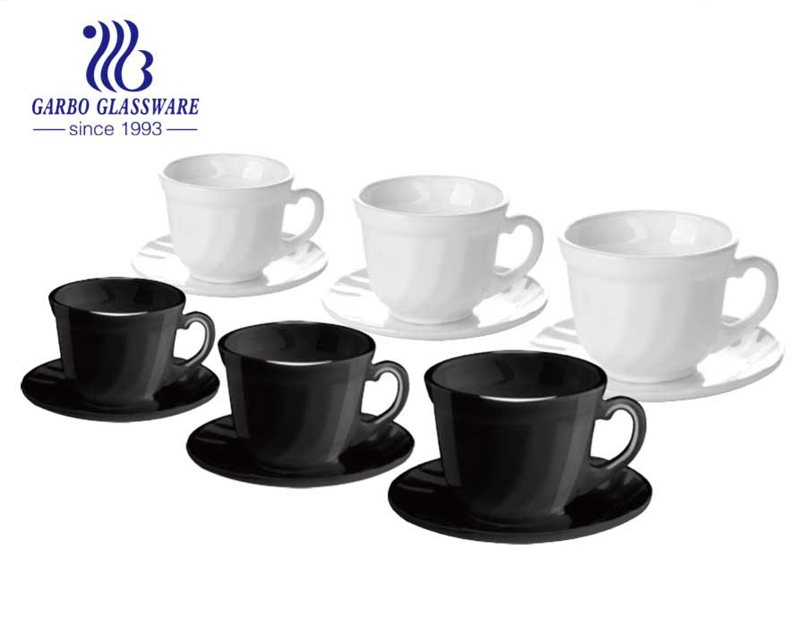 Black Tea Coffee Set Cup Saucers Dishes Plates Opal Glass Cookware Hot round dinner set