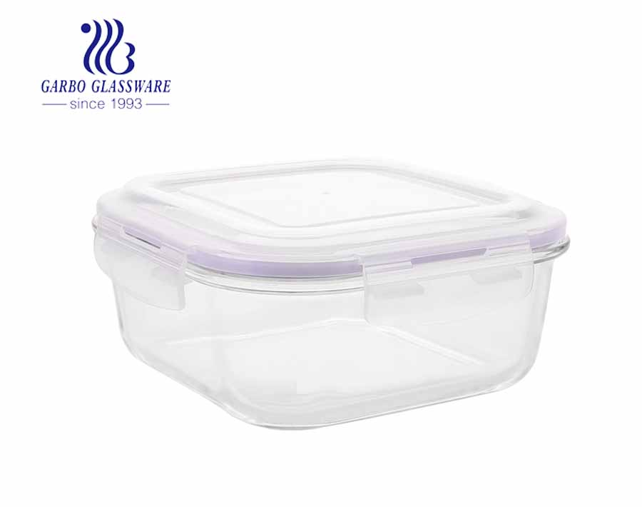 Square Glass Container with purple silicone lid food lunch box with CE certificate