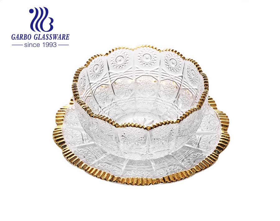 Garbo nesting cut glass sunflower bowl with mouth gold rim 4.2 inch hot sell in Turkey