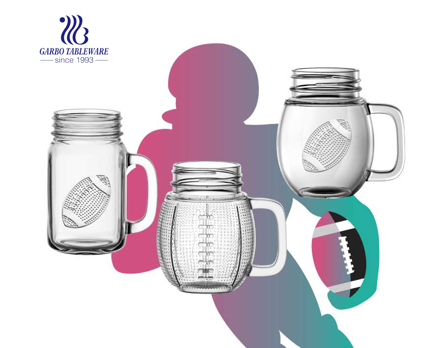 18oz New Multi-design hot sell in South America football glass mason jar drinking glasses