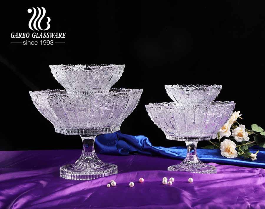 4 Sizes Luxury Mid-east Style Stylish Glass Fruit Bowl with Crazily Popular Sunflower Design