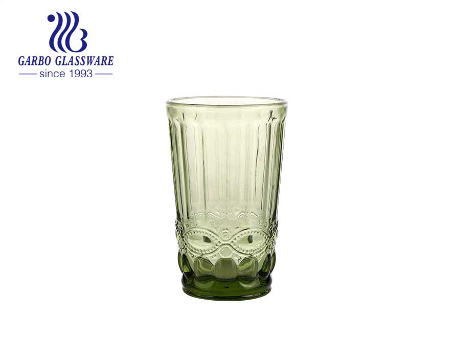 Vaso de vidrio de color sólido de 350 ml, vaso de agua y jugo, vaso de agua, color verde, popular para la decoración del hogar