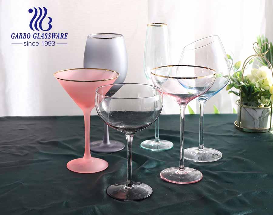 9.5OZ Amazon top seller Eco-friendly glass stemware decorative with gold rim wine glass custom design newest style glass goblet