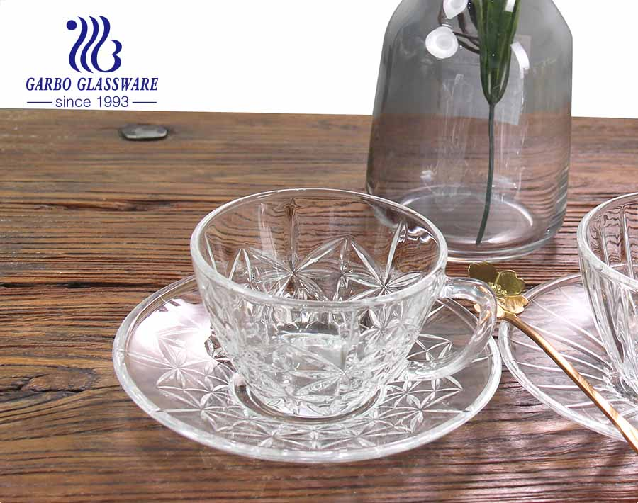 European style glass coffee cup with saucer clear tea cups and saucers