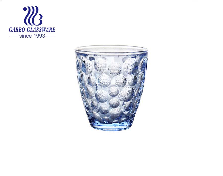 300ml hot sale dot design pressed glass tumblers with solid color for water and juice drinking