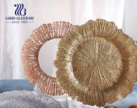 Indiana antique flowers rim art plato de postre de vidrio de color dorado plateado 13 pulgadas