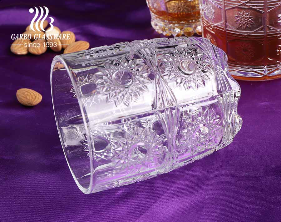 Middle East Arabic Turkey market style engraved glass cups with sunflower embossing