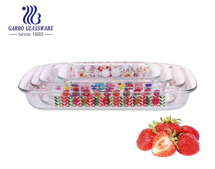 3pcs Microwave and oven safe glass plate nonstick bakeware cookware eco-friendly amazon top seller tray baking pan