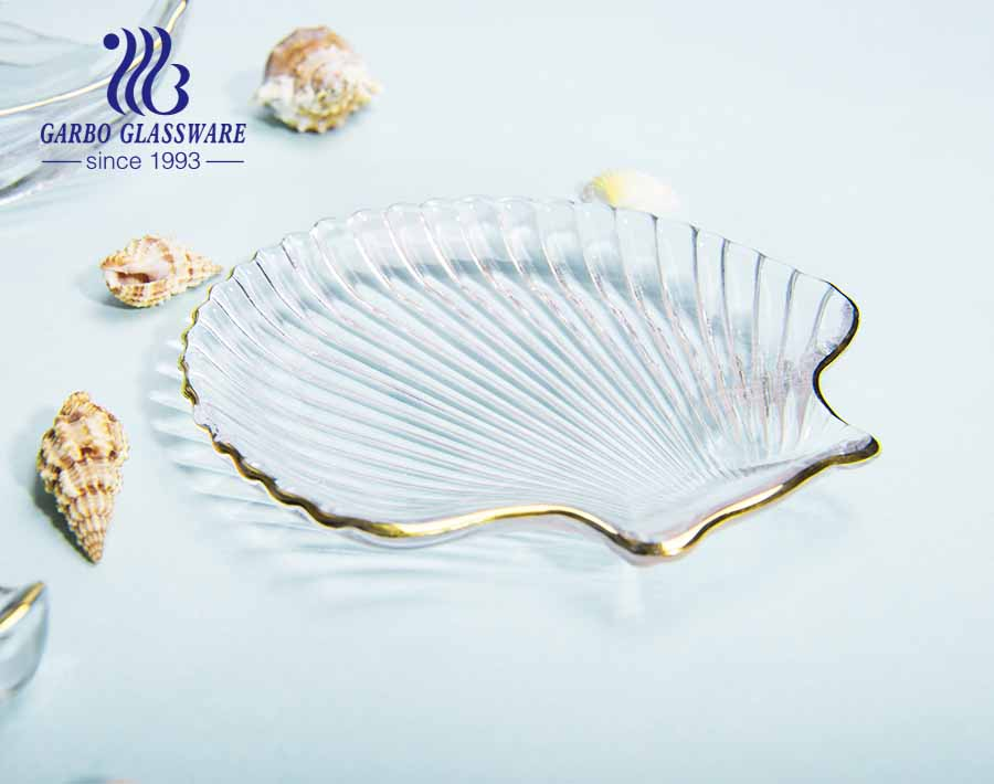 8 inch European style simple seashell pattern design luxury glass fruit plate with gold edge