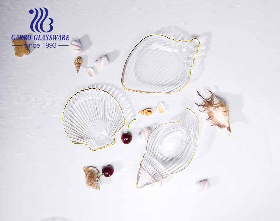 8 Zoll europäischen Stil einfache Muschel Muster Design Luxus Glas Obstteller mit Goldrand